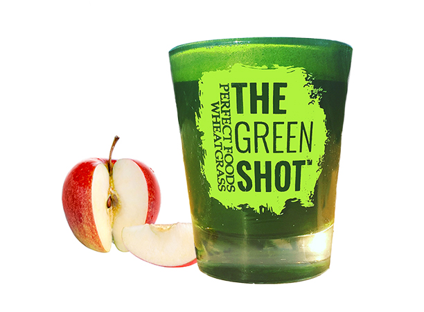 wheatgrass juice, wheatgrass shot, the green shot, wheatgrass and apple juice